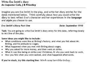 Eva Smith's Diary 1